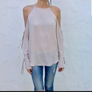 Trouve sheer cold shoulder blouse.